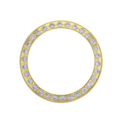 GOLD CREATED DIAMOND BEZEL FOR 26M ROLEX DATE DATEJUST 6517 6900 6917 6719 69173