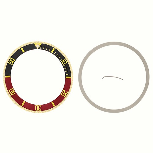 BEZEL+INSERT FOR ROLEX SUBMARINER 18K REAL GOLD 16800 16613 16618 BLACK/RED