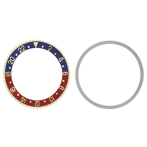 BEZEL & INSERT FOR ROLEX GMT 18K REAL GOLD BLUE/RED PEPSI 1675 16750 16753 16758