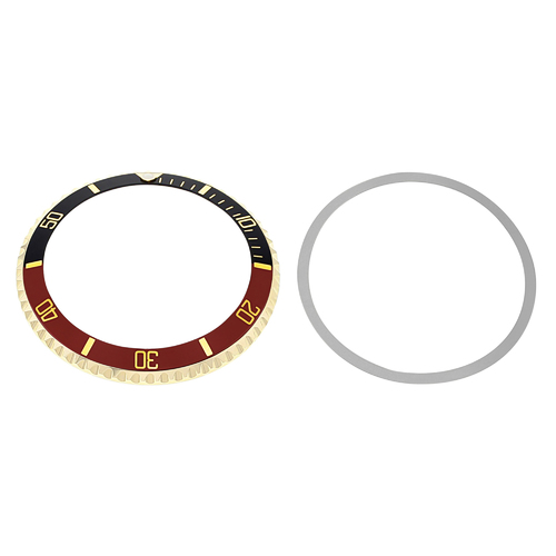 BEZEL+INSERT FOR ROLEX SUBMARINER 18K REAL GOLD 5508  5512  5513 1680 BLACK/RED