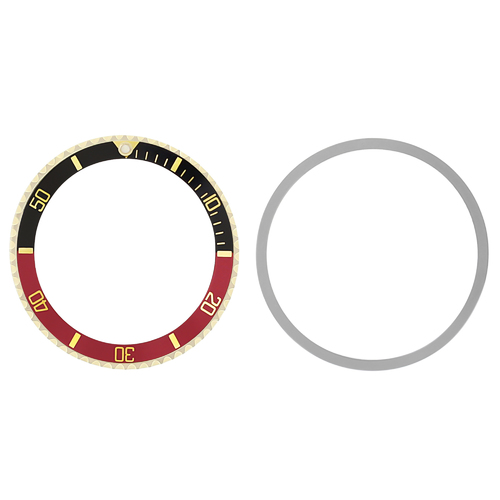 BEZEL+INSERT FOR ROLEX SUBMARINER 18KY REAL GOLD 5508, 5512, 5513 1680 BLACK/RED