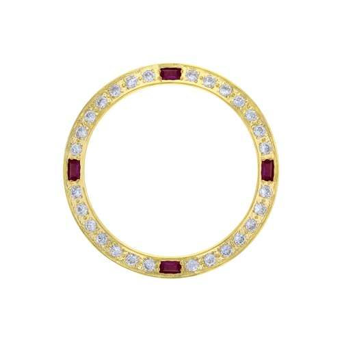 CREATED DIAMOND RUBY BEZEL FOR 26MM ROLEX DATE DATEJUST 6519 6917 69173 GOLD