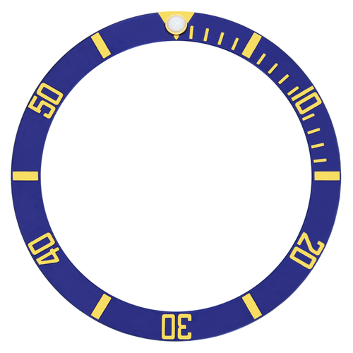 BEZEL INSERT ALUMINUM FOR ROLEX SUBMARINER BLUE 5508 5512 5513 1680 GOLD FONTS