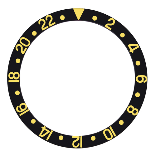 BLACK BEZEL INSERT FOR 40MM ROLEX GMT 16700 16710 16718 16758 16760 GOLD FONTS