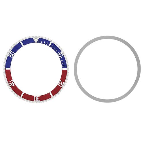 BEZEL + INSERT FOR TUDOR SUBMARINER CASE # 9401 7016 7928 76100 94010 BLUE/RED