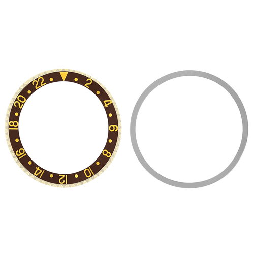 BEZEL+INSERT FOR OLDER ROLEX GMT 18KY GOLD 1670, 1675, 16750, 16753, 16758 BROWN