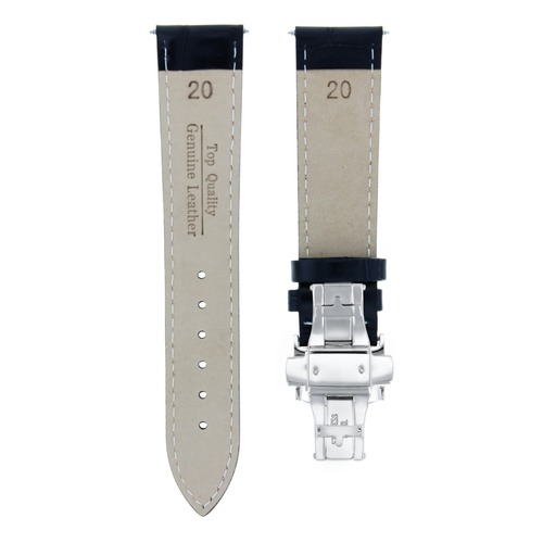 20MM LEATHER WATCH STRAP BAND DEPLOYMENT CLASP FOR CHOPARD WATCH BLACK WS