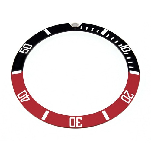 REPLACEMENT BEZEL INSERT BLACK/RED FOR WATCH 36.50MM X 30.40MM