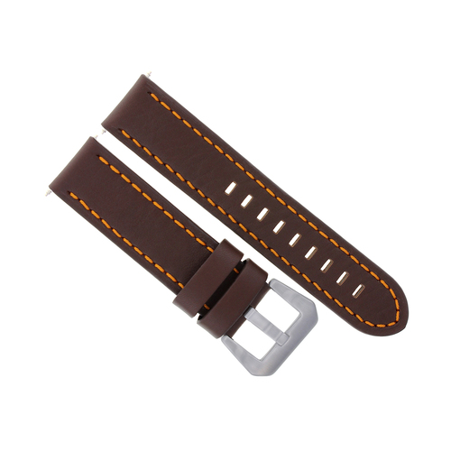 22MM LEATHER WATCH BAND STRAP FOR ANONIMO WATCH DARK BROWN ORANGE STITCHING