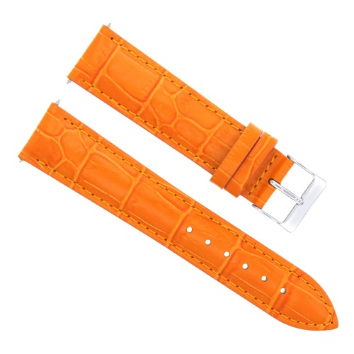 22Mm Orange Leather Watch Band Strap For Vacheron Constantin