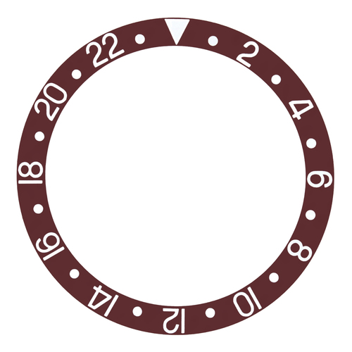 BEZEL INSERT ALUMINUM FOR VINTAGE ROLEX GMT 16700,16718 BROWN SILVER FONT
