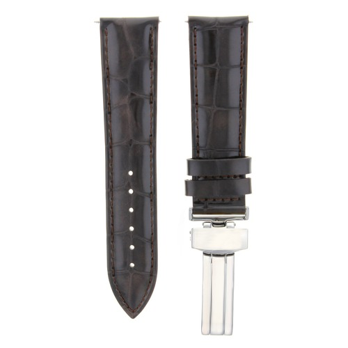 18MM LEATHER WATCH BAND STRAP DEPLOYMENT CLASP FOR ROLEX CELLINI WATCH D/BROWN