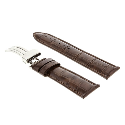 18MM LEATHER WATCH STRAP BAND FOR ROLEX WATCH DEPLOYMENT BUCKLE LIGHT BROWN