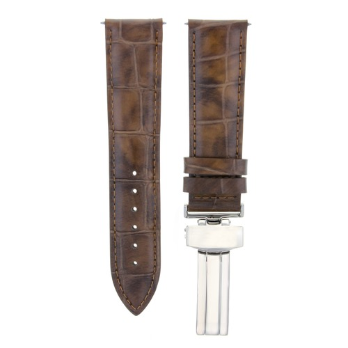 19MM LEATHER WATCH STRAP BAND DEPLOYMENT CLASP FOR ROLEX DATE AIRKING L/BROWN