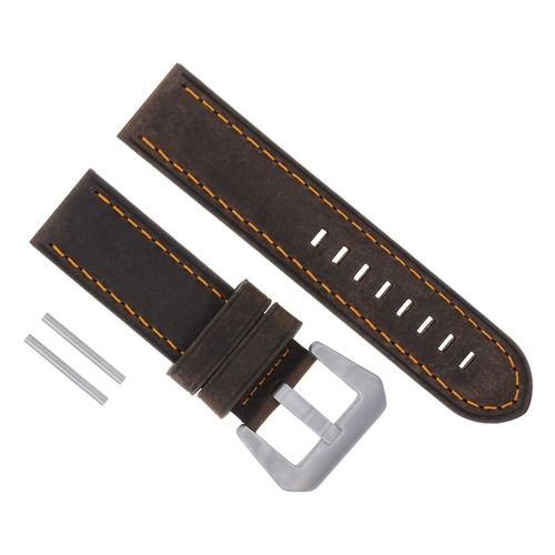 24MM COW LEATHER WATCH BAND STRAP FOR BREITLING COLT BENTLEY BROWN ORANGE STITCH