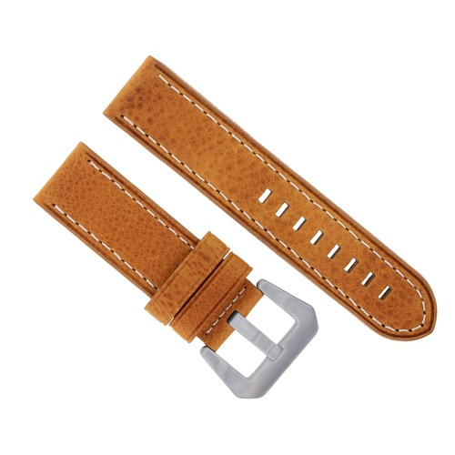 24MM LEATHER WATCH BAND STRAP FOR BREITLING NAVITIMER BENTLEY COLT ABYSS TAN WS