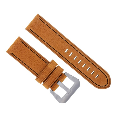 24MM NEW MOON COW LEATHER WATCH STRAP FOR BREITLING NAVITIMER BENTLEY BLACK