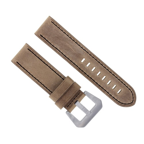 24MM COW LEATHER WATCH BAND STRAP FOR BREITLING NAVITIMER SAND COLT BLACK STITCH