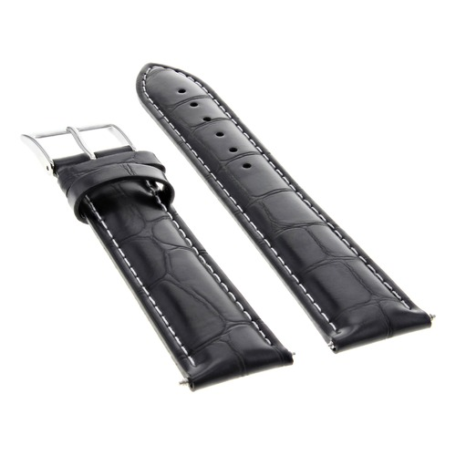19/16MM LEATHER WATCH BAND STRAP FOR 34MM ROLEX DATE, AIRKING 1500 5500 BLACK WS