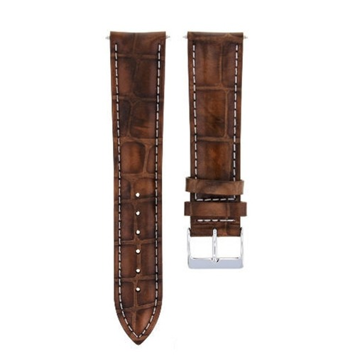 19/16MM LEATHER WATCH BAND STRAP FOR ROLEX DATE, AIRKING LIGHT BROWN WHITE STIT