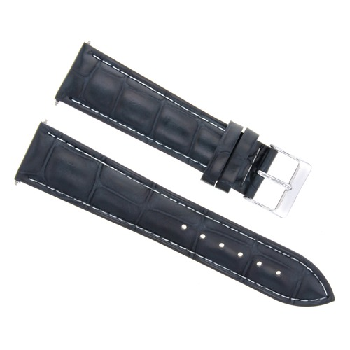 19MM LEATHER WATCH STRAP BAND FOR MOVADO MUSEUM WATCH DARK BLUE WHITE STITCH
