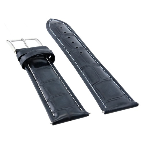 19MM NEW LEATHER WATCH STRAP BAND FOR CHOPARD WATCH DARK BLUE WHITE STITCH