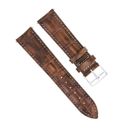 18MM LEATHER WATCH BAND STRAP FOR JAEGER LECOULTRE LIGHT BROWN  WHITE STITCHING