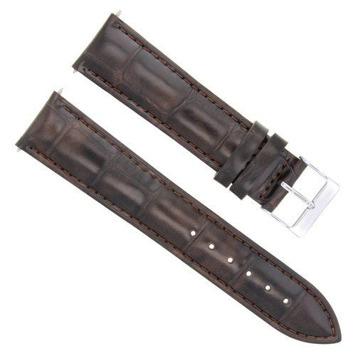 19MM GENUINE LEATHER STRAP BAND FOR JAEGER LECOULTRE WATCH DARK BROWN