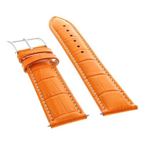19MM LEATHER BAND STRAP FOR ROLEX WATCH DATE AIRKING 5700 1400 ORANGE WHITE STIT