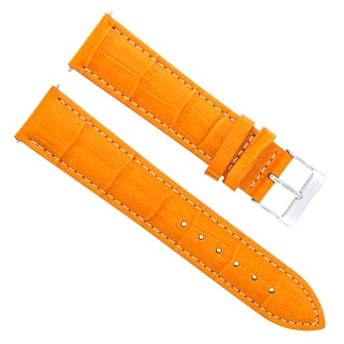 18MM LEATHER WATCH BAND STRAP FOR MOVADO WATCH ORANGE WHITE STITCH