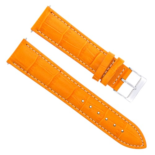 22MM LEATHER WATCH BAND STRAP FOR MOVADO BOLD 3600432 WATCH ORANGE WHITE STITCH