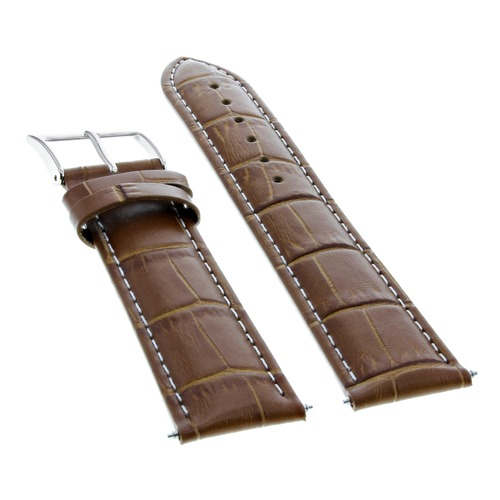 19MM LEATHER WATCH BAND STRAP FOR 34MM ROLEX AIRKING LIGHT BROWN  WHITE STITCH