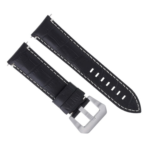 22MM GENUINE LEATHER WATCH BAND STRAP FOR ANONIMO WATCH BLACK WHITE STITCHING