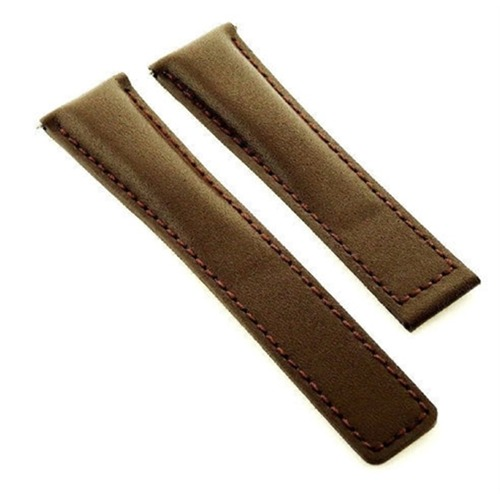 LEATHER STRAP BAND FOR DEPLOY CLASP VACHERON CONSTANTIN 20/16MM BROWN SMOOTH