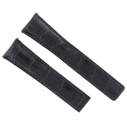 20MM LEATHER BAND STRAP DEPLOY CLASP FOR VACHERON CONSTANTIN WATCH 20/16MM BLACK