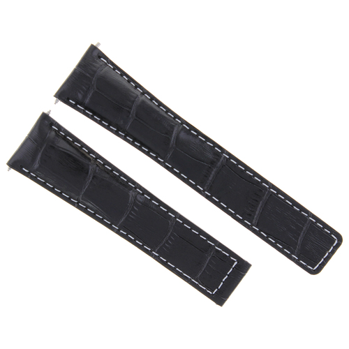20MM LEATHER BAND STRAP DEPLOYMENT CLASP FOR VACHERON CONSTANTIN WATCH BLACK WS