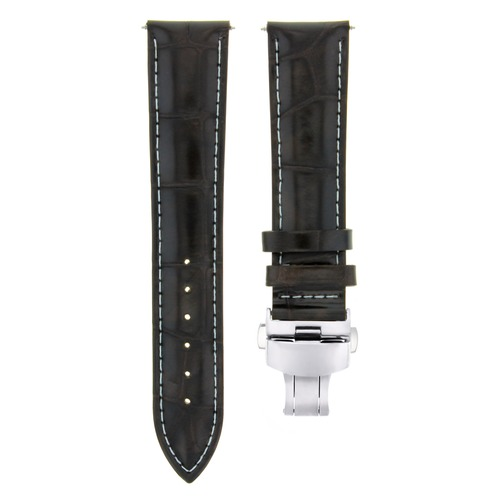 18MM LEATHER WATCH BAND STRAP FOR ROLEX WATCH DEPLOYMENT BUCKLE CLASP D/BROWN WS