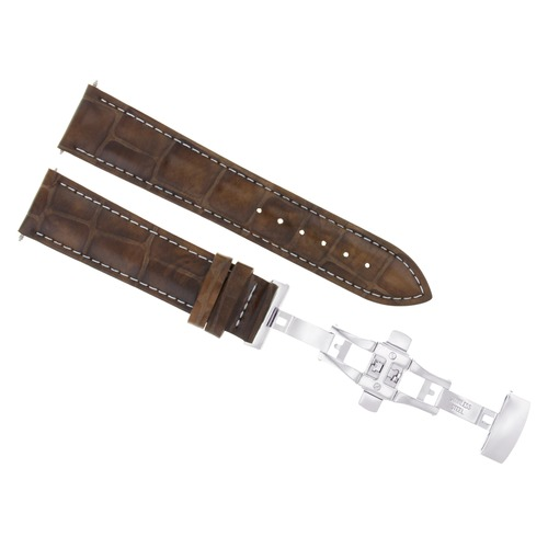 24MM LEATHER WATCH BAND STRAP FOR PATEK PHILLIPE WATCH DEPLOY CLASP L/BROWN WS