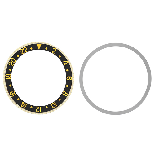 BEZEL & INSERT FOR OLD ROLEX GMT 18KY REAL GOLD 1675, 16750, 16753, 16758 BLACK