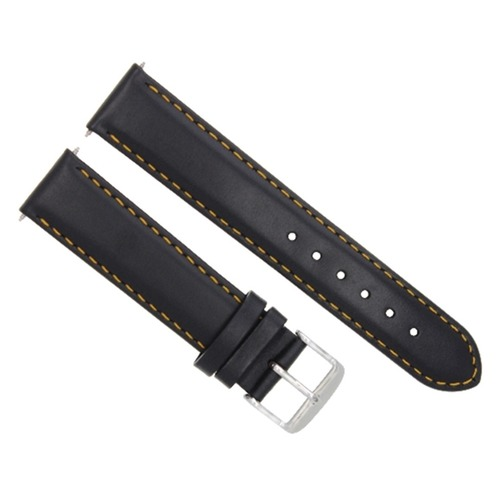 22MM LEATHER WATCH STRAP BAND SMOOTH FOR MONTBLANC TIMEWALKER BLACK ORANGE STIT