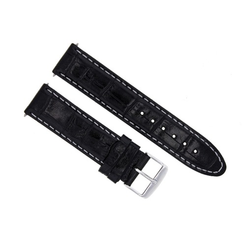 18MM LEATHER WATCH STRAP BAND BRACELET FOR MONTBLANC WATCH BLACK WHITE STITCH