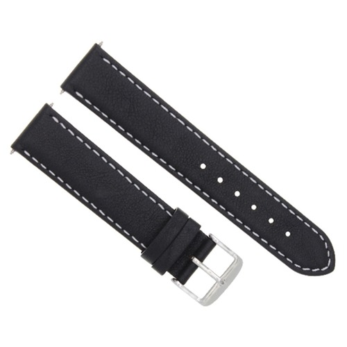 22MM LEATHER STRAP SMOOTH BAND FOR MONTBLANC TIMEWALKER WATCH BLACK WHITE STITCH