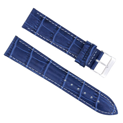 20MM LEATHER WATCH STRAP BAND FOR ROLEX DATE , AIRKING 20/18MM BLUE WHITE STITCH