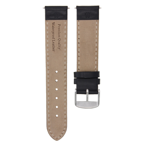 19MM SMOOTH  LEATHER WATCH STRAP BAND WATERPROOF FOR ROLEX DATE  AIR KING  BLACK