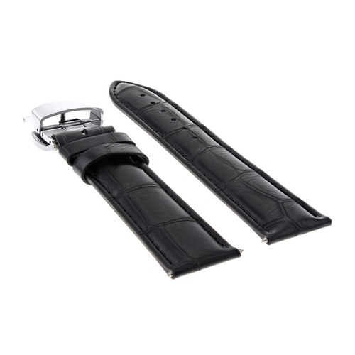 20MM BLACK LEATHER WATCH BAND STRAP FOR ROLEX CELLINI WATCH DEPLOYMENT CLASP