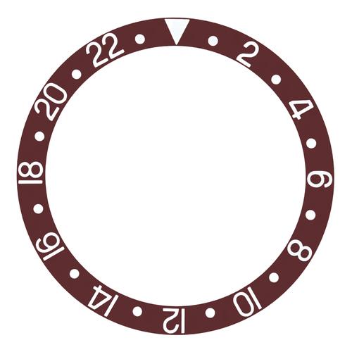 BEZEL INSERT ALUMINUM FOR VINTAGE ROLEX GMT I  16750 16758 BROWN SILVER FONT