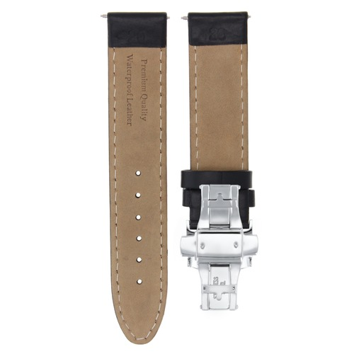 20MM LEATHER BAND SMOOTH WATERPROOF STRAP FOR 36MM ROLEX DATEJUST + CLASP BLACK