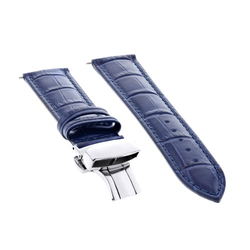 20MM LEATHER STRAP WATCH BAND BUTTERFLY CLASP FOR 36MM ROLEX DATE DATEJUST BLUE