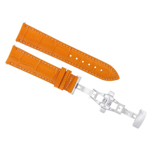 18MM LEATHER BAND STRAP FOR BAUME MERCIER WATCH DEPLOYMENT CLASP ORANGE WS
