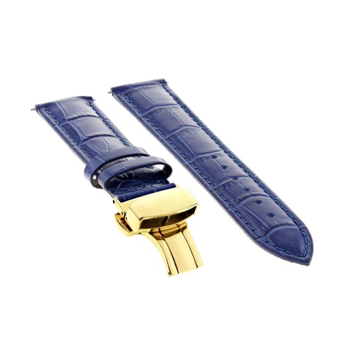 20MM LEATHER BAND STRAP DEPLOYMENT CLASP FOR 36MM ROLEX DATE DATEJUST BLUE GOLD